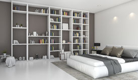 3d rendering contemporary colorful bedroom with built in bookshelf. 3d rendering by 3ds max Stock Photo