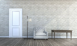 3d rendering contemporary furniture near brick wall room Stock Images