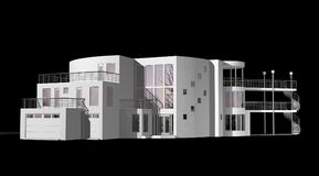 Contemporary 3D House isolated on black Stock Photography