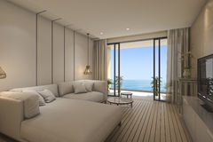 3d rendering contemporary living room with sofa near sea Royalty Free Stock Photography
