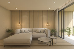 3d rendering contemporary living room with sofa near terrace Royalty Free Stock Photography