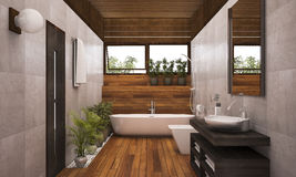 3D rendering contemporary wood bathroom with plants. 3D Interior rendering by 3ds max Royalty Free Stock Photo