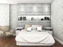 3d rendering contemporary wood floor with with daylight inside bedroom Stock Image