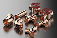 Pipe joint and valve. 3d rendering copper pipe with pipe joint and valve Stock Image