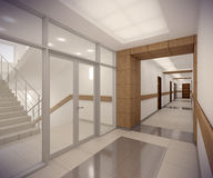 3D rendering corridor of ofice building Royalty Free Stock Images