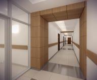 3D rendering corridor of ofice building Stock Image