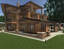 3D Rendering Country Resort. 3D rendering of a beautiful country resort Stock Photos