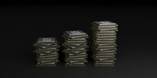 3d rendering cpu processors stack Royalty Free Stock Images