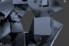 3d rendering, creative cubes with sense of science and technology vector illustration