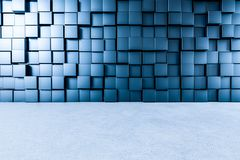 3d rendering, creative cubes wall with floor stock illustration