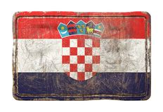 Old Croatia flag. 3d rendering of a Croatia flag over a rusty metallic plate. Isolated on white background Stock Images