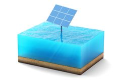 3d rendering of cross section of water cube isolated on white background. Blue Solar panel in the sea producing clean. 3d rendering of cross section of water Royalty Free Stock Photo