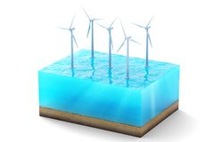 3d rendering of cross section of water cube isolated on white background. Wind turbines in the sea producing clean. Energy Stock Photography