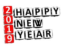 3D Rendering Crossword 2019 Happy New Year Word Over White Backg. Round stock illustration