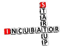 3D Rendering Crossword Incubator Startup Over White Background. stock image