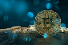 3D rendering from a crypto currency coin with bluish lens flares Royalty Free Stock Photo