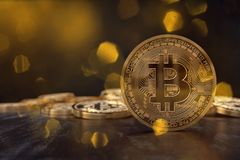 3D rendering from a crypto currency coin with coins in the background Royalty Free Stock Photography