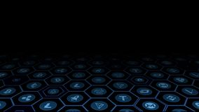 3D rendering crypto waluty cyfrowe monety w rozjarzonej błękitnej sześciokąt ramie royalty ilustracja