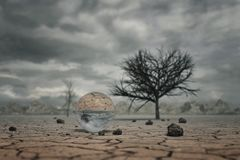 3d rendering of crystal ball at dry soil landscape with trees an Stock Photography