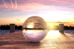 3d rendering of crystal ball on wooden bridge in the morning lig Stock Photo
