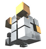 3d rendering cube silver and golden parts Stock Photo
