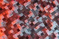 3D Rendering With Cubes. Abstract 3D Rendering Background With Red And Grey Cubes royalty free illustration