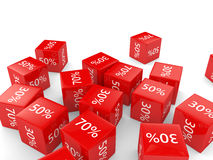 3D rendering of cubes with discount sign Royalty Free Stock Photography