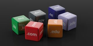 3d rendering cubes with domain names. On a black background Stock Images