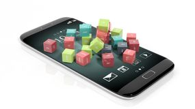 3D rendering of cubes with domain names. On smartphone's screen,  on white Stock Images