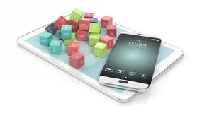 3D rendering of cubes with domain names. With tablet and smartphone, on white royalty free illustration
