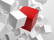 3d rendering of cubes. 3d rendering picture of white cubes with one red cube Royalty Free Stock Photo