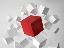 3d rendering of cubes. 3d rendering picture of white cubes with one red cube Stock Photography