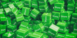 3d rendering cubes with social media words Royalty Free Stock Photography