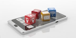 3d rendering cubes with tech symbols on a smart phone Stock Images