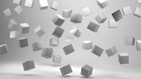 3D Rendering Cubes on white background. 3D Rendering of Cubes on white background vector illustration