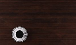 3D Rendering : A cup of black coffee and the saucer on the table, top view. A cup of  black coffee with the saucer under it and place on the wood texture table Royalty Free Stock Photography