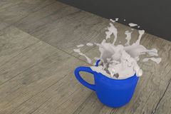 3d rendering of a cup of milk spill Royalty Free Stock Photography