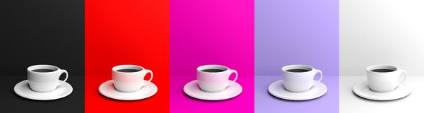 3d rendering cups with coffee collage Stock Images