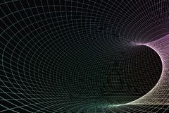 3d rendering, curve lines with dark background stock illustration
