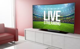 Curved television live streaming. 3d rendering of curved smart television on a living room with livestreaming platform stock photos