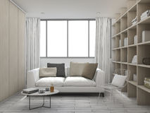 3d rendering cushion living room with bookshelf. 3D Interior rendering by 3ds max Royalty Free Stock Photo