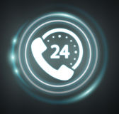 3D rendering customers assistance icon. On dark background Royalty Free Stock Photos