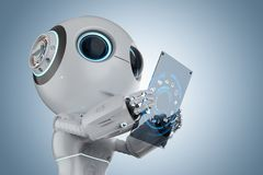 Mini robot with tablet Stock Image
