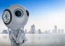 Mini robot think. 3d rendering cute artificial intelligence robot think or analysis vector illustration
