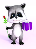 3D rendering of a cute cartoon raccoon holding gift and rose. Royalty Free Stock Photo