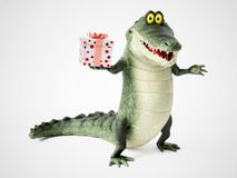 3D rendering of a cartoon crocodile holding a gift. Royalty Free Stock Image