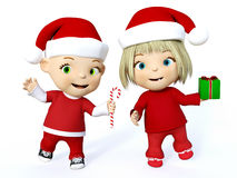 3D rendering of a cute toddler boy and girl at Christmas. Royalty Free Stock Photos