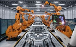 Cyborg control robot assembly line. 3d rendering cyborg control robot assembly line in car factory Stock Image