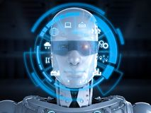 Robot with eyeglasses. 3d rendering cyborg with hud on eyeglasses royalty free illustration