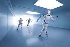 Cyborg running competition. 3d rendering cyborg running with fast speed in competition Royalty Free Stock Photography